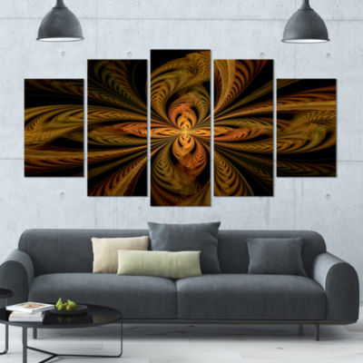 Designart Colorful Fractal Flower Pattern Contemporary Canvas Print Art - 4 Panels