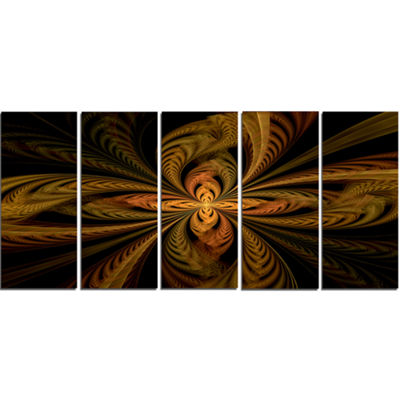 Designart Colorful Fractal Flower Pattern AbstractWall ArtCanvas - 5 Panels