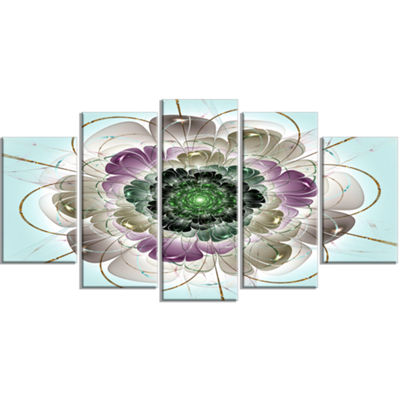 Designart Dark Blue Fractal Flower Pattern Contemporary WallArt Canvas - 5 Panels