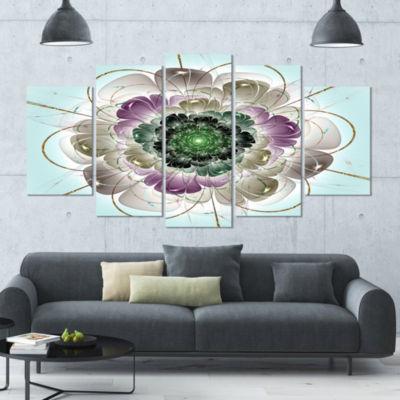 Designart Dark Blue Fractal Flower Pattern Abstract Wall ArtCanvas - 5 Panels