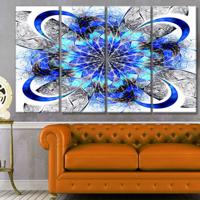 Symmetrical Blue Fractal Flower Abstract Wall ArtCanvas - 4 Panels