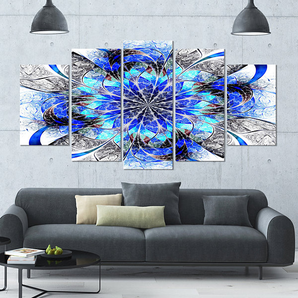 Symmetrical Blue Fractal Flower Contemporary WallArt Canvas - 5 Panels