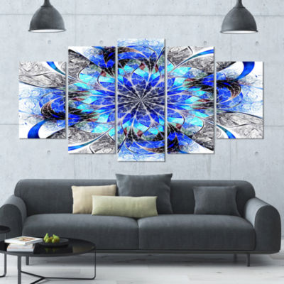 Symmetrical Blue Fractal Flower Abstract Wall ArtCanvas - 5 Panels