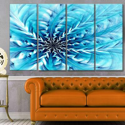 Light Blue Fractal Flower Pattern Abstract Wall Art Canvas - 4 Panels