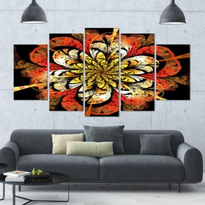 Designart Dark Yellow Orange Fractal Flower Abstract Wall Art Canvas - 5 Panels