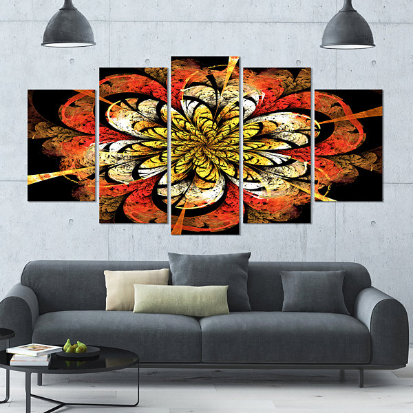 Design Art Dark Yellow Orange Fractal Flower Abstract Wall Art Canvas - 5 Panels