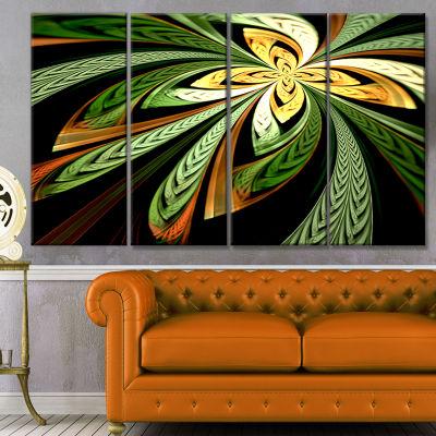 Designart Colorful Fractal Flower Pattern AbstractCanvas Print Art - 4 Panels