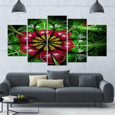 Designart Dark Yellow And Green Flower Contemporary Wall ArtCanvas - 5 Panels