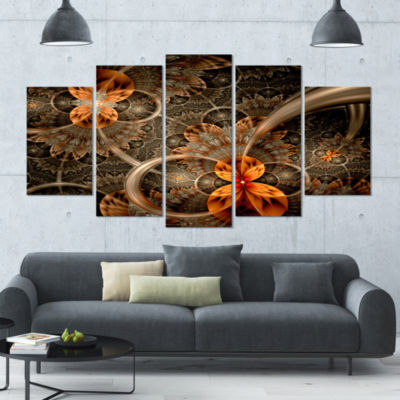 Designart Dark Orange Symmetrical Flower Contemporary Wall Art Canvas - 5 Panels