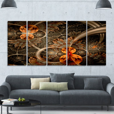 Designart Dark Orange Symmetrical Flower AbstractWall Art Canvas - 5 Panels