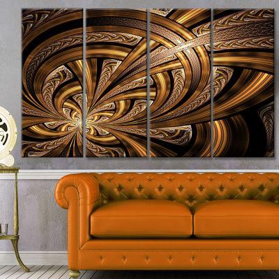 Designart Dark Orange Fractal Flower Abstract WallArt Canvas - 4 Panels
