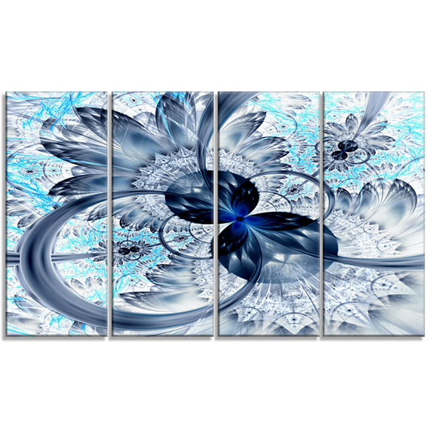 Designart Dark Blue Purple Fractal Flower AbstractCanvas Art Print - 4 Panels
