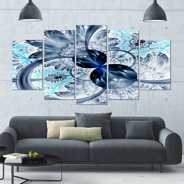 Designart Dark Blue Purple Fractal Flower AbstractCanvas Art Print - 5 Panels