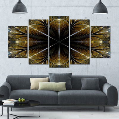 Symmetrical Gold Fractal Flower Abstract Canvas Art Print - 5 Panels