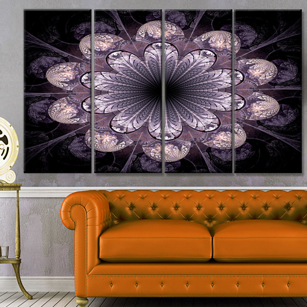 Designart Dark Pink Fractal Flower Pattern Abstract Canvas Art Print - 4 Panels