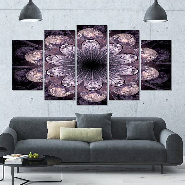 Designart Dark Pink Fractal Flower Pattern Abstract Canvas Art Print - 5 Panels
