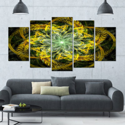 Yellow And Green Fractal Flower Abstract Canvas Art Print - 4 Panels