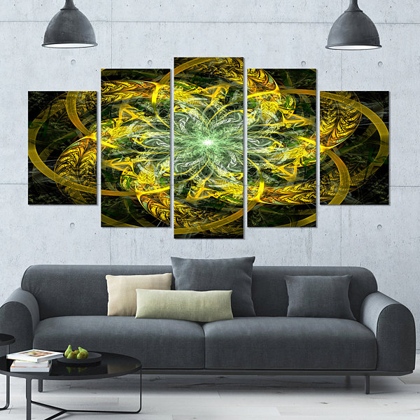 Yellow And Green Fractal Flower Contemporary Canvas Art Print - 5 Panels