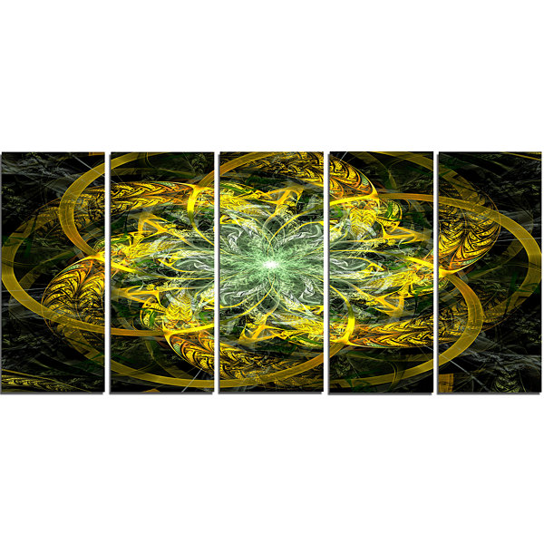 Yellow And Green Fractal Flower Abstract Canvas Art Print - 5 Panels