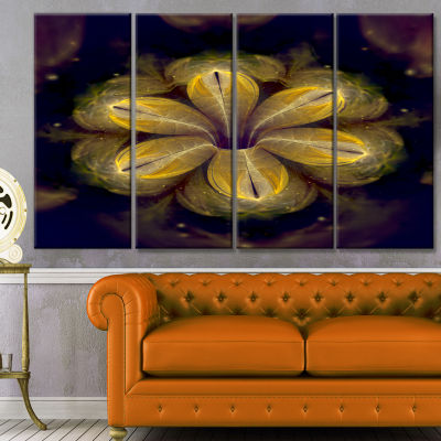 Designart Black Yellow Fractal Flower Pattern Contemporary Canvas Art Print - 4 Panels