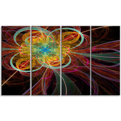 Designart Colorful Red Fractal Flower Abstract Canvas Art Print - 4 Panels