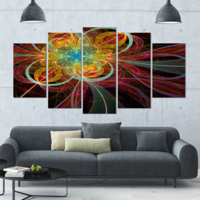 Designart Colorful Red Fractal Flower Abstract Canvas Art Print - 5 Panels