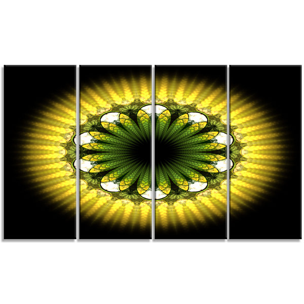 Designart Black Yellow Fractal Flower Pattern Abstract Canvas Art Print - 4 Panels