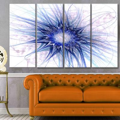 Designart Blue Light Fractal Flower Texture Abstract CanvasArt Print - 4 Panels