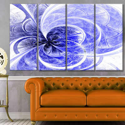 Designart Blue Light Fractal Flower Pattern Abstract CanvasArt Print - 4 Panels