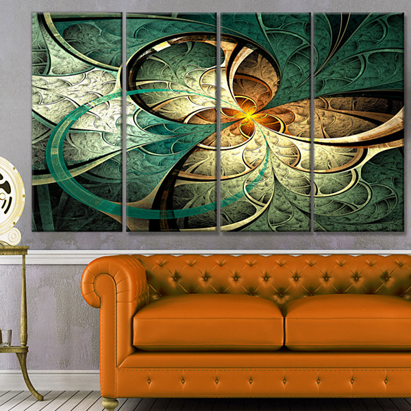 Design Art Dark Yellow Green Fractal Flower Abstract Canvas Art Print - 4 Panels