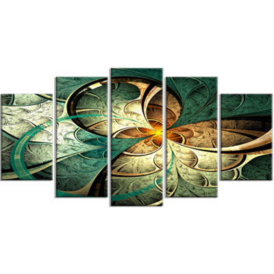 Designart Dark Yellow Green Fractal Flower Contemporary Canvas Art Print - 5 Panels