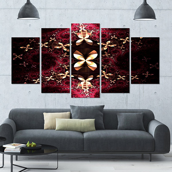 Yellow Red Fractal Flower Pattern Contemporary Canvas Art Print - 5 Panels