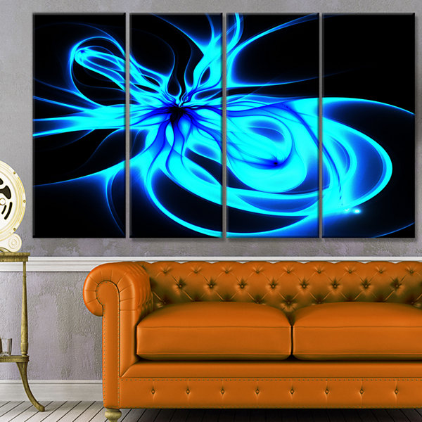 Glowing Blue Symmetrical Flower Abstract Canvas Art Print - 4 Panels
