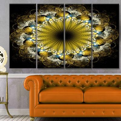 Designart Dark Yellow Fractal Flower Abstract Canvas Art Print - 4 Panels