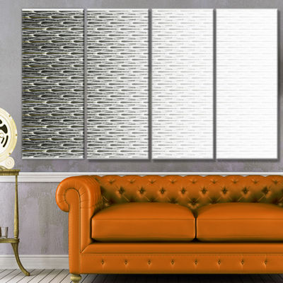 White Symmetrical Fractal Flower Abstract Canvas Art Print - 4 Panels