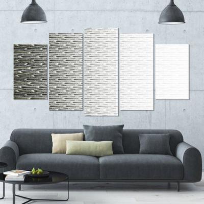 White Symmetrical Fractal Flower Abstract Canvas Art Print - 5 Panels