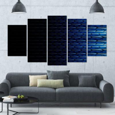 Designart Blue Symmetrical Fractal Flower AbstractCanvas Art Print - 5 Panels