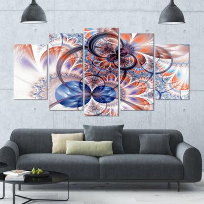 Gold Symmetrical Fractal Flower Contemporary Canvas Art Print - 5 Panels