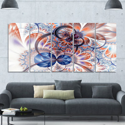 Gold Symmetrical Fractal Flower Abstract Canvas Art Print - 5 Panels