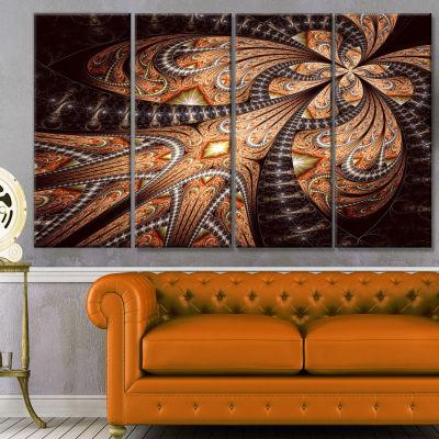 Designart Brown Symmetrical Fractal Flower Abstract Canvas Art Print - 4 Panels