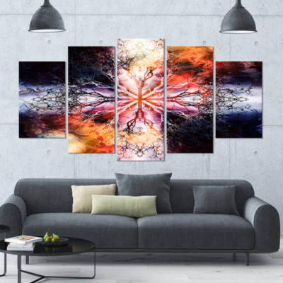 Mandala With Tree Pattern Contemporary Art On Canvas - 5 Panels