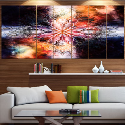 Mandala With Tree Pattern Abstract Art On Canvas -5 Panels