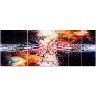 Mandala With Tree Pattern Abstract Art On Canvas -7 Panels