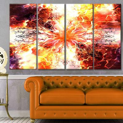 Yellow Tree Pattern Mandala Abstract Art On Canvas- 4 Panels