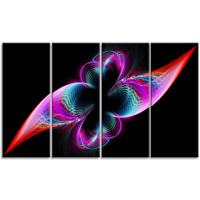 Colorful Flower Fractal Rainbow Abstract Art On Canvas - 4 Panels