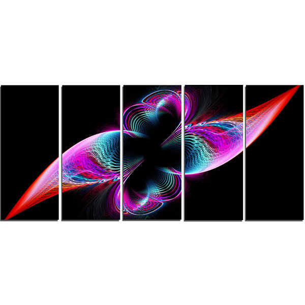 Designart Colorful Flower Fractal Rainbow AbstractArt On Canvas - 5 Panels
