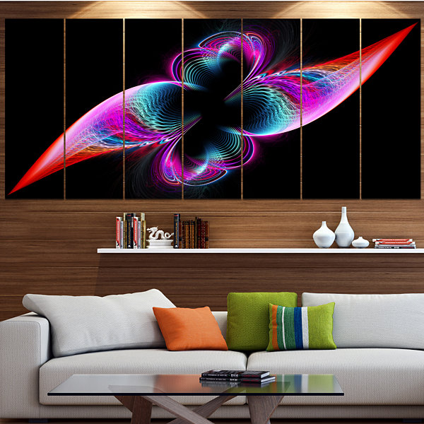Designart Colorful Flower Fractal Rainbow AbstractArt On Canvas - 6 Panels