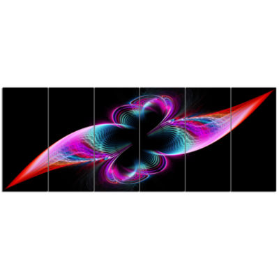 Colorful Flower Fractal Rainbow Abstract Art On Canvas - 6 Panels