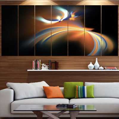 Designart Brown Floating Fractal Designs AbstractArt On Canvas - 7 Panels
