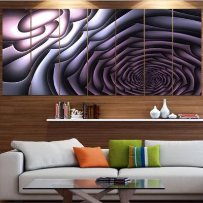 Purple Flower Shaped Fractal Art Contemporary WallArt Canvas - 5 Panels